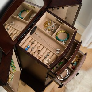 Hives and Honey Morgan 6-Drawer Walnut Jewelry Armoire