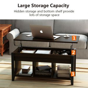 Tribesigns Coffee Table Hidden Storage & Tribesigns Lift Top Coffee Table with Hidden Storage and Lower Shelf ...