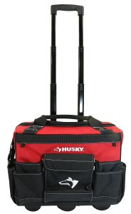 Husky GP-43196N13 18 600-Denier Red Water Resistant Contractor's Rolling Tool Tote Bag with Telescoping Handle