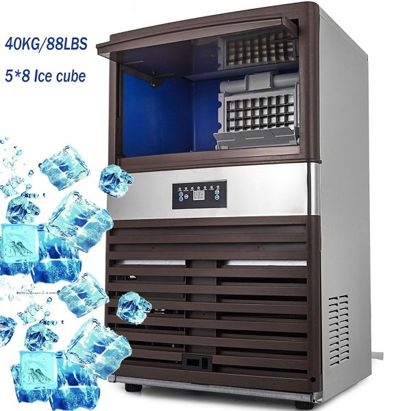 VEVOR Commercial Ice Maker 88lb:24h Stainless Steel Portable