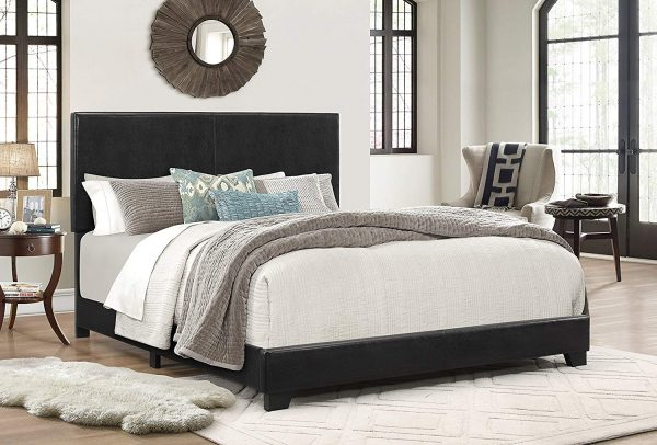 Crown Mark Upholstered Panel Bed in Black