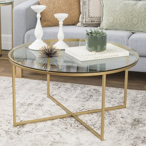 WE Furniture glass coffee table