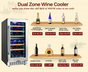 Aobosi 15'-inch Dual Zone Wine Cooler 30 Bottle