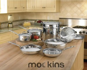 mockins 15 Piece Stainless Steel Cookware Set
