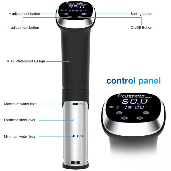 Anmade Wi-Fi Sous Vide 1000W Precision Cooker Immersion Circulator