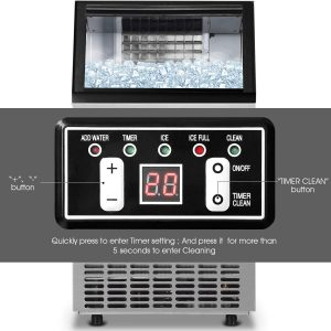 Costzon Commercial Built-In Stainless Steel Ice Maker Display Panel