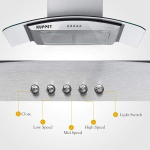 KUPPET Pro-Style 30 Wall Mount Range Hood Buttons