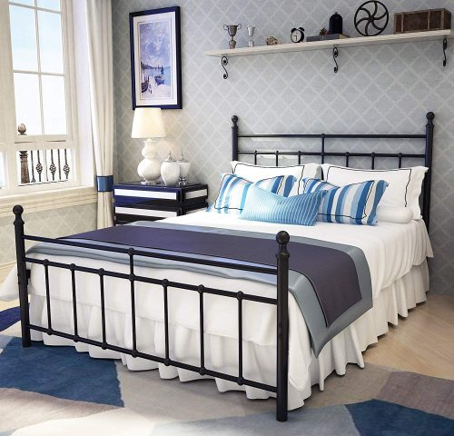 Metal Bed Frame Full Size with Vintage Headboard and Footboard