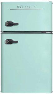 Northair 2-Door Mini Refrigerator with Handle, 3.2 Cubic Feet