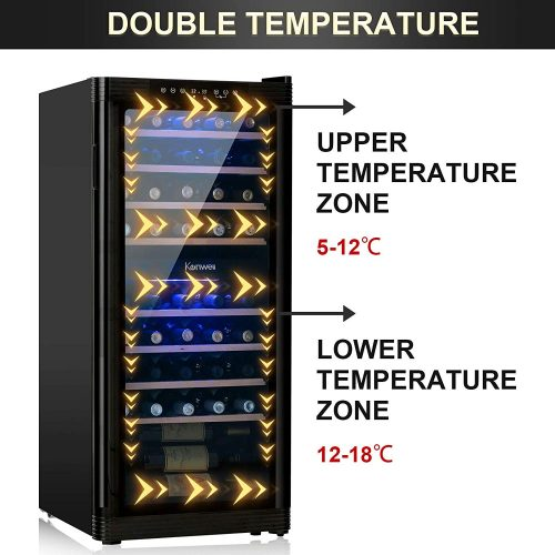 KENWELL 48 Bottles Compressor Dual Zone Freestanding Wine Cooler
