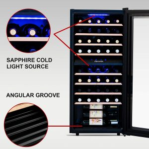 KENWELL 48 Bottles Compressor Dual Zone Freestanding Wine Fridge Interior