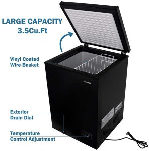Northair Chest Freezer 3.5 Cubic Feet with removable basket