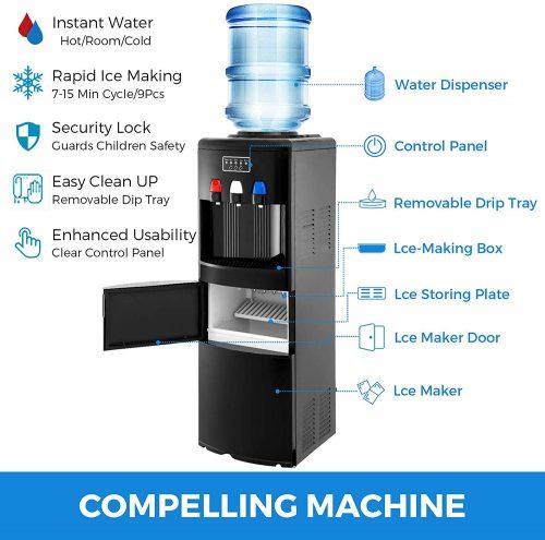VBENLEM 2 in 1 Black Water Dispenser Cooler