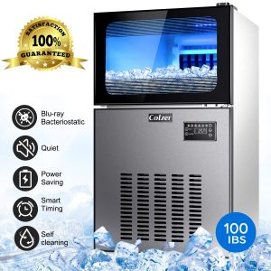 Colzer Commercial Ice Maker 100Lb per 24H Portable Freestanding