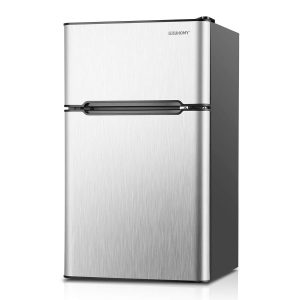 Euhomy Compact Mini 3.2 Cu.Ft 2-Door Upright Fridge Freezer