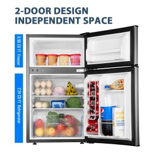 Euhomy Compact Mini 3.2 Cu.Ft 2-Door Upright Fridge Freezer Interior