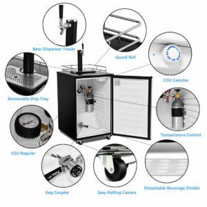 COSTWAY Full Size 6.1 CU. FT Single-Tap Kegerator Beer Cooler