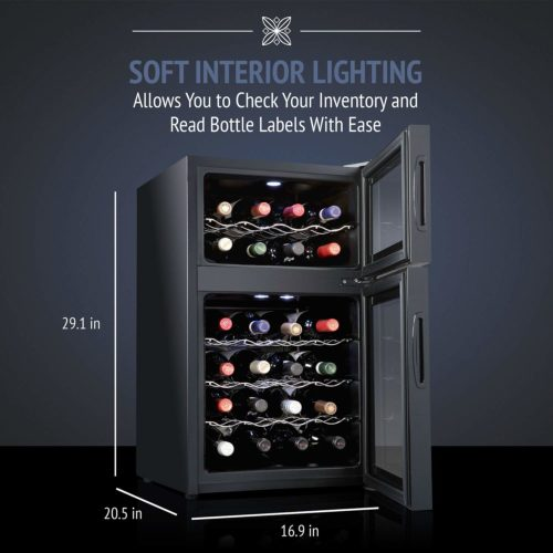 Ivation 24 Bottle Dual Zone Thermoelectric Red & White Wine Chiller