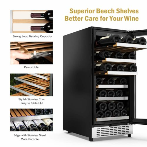 Colzer 15 Inch Wine Cooler, 30-Bottle Shelves