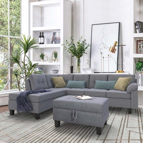 Romatpretty Linen-Like Polyfabric Left or Right Hand Chaise Sectional Set