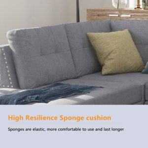 Romatpretty Linen-Like Polyfabric Left or Right Hand Chaise Sectional Set Sponge Cushion
