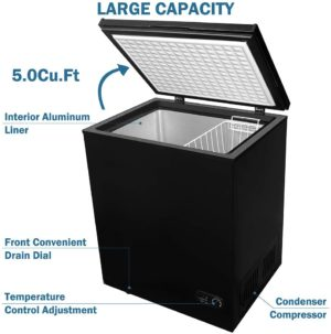 CoolLife 5.0 cu ft Chest Freezer with Removable Basket