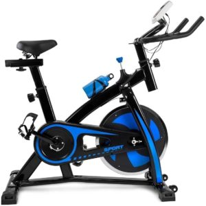 Black and blue Unbran Stationary Bike measures 44.88H x 19.68W x 43.3D inches, with the height being adjusted between 29 and 35 inches. It can carry a maximum user weight of 440 pounds or 200kg, which is more than many other similar bikes on the market and will be perfectly fine and stable for most users. It is not a folding type exercise bike but can be tilted and rolled easily for being stored in a convenient part of your house. It requires some assembly with the tools and instructions included in the package that includes your Unbran Stationary Bike, a tablet/smartphone holder, a user manual and a water bottle.