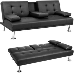 JUMMICO Futon Sofa Bed Faux Leather