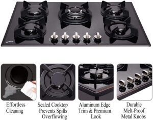 Loblich 30 Inch Gas Cooktop 5 Burners stovetop tempered glass