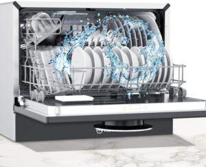 Moosoo 22″ Compact Countertop Dishwasher 5 Programs