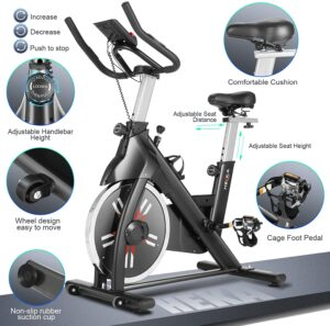 Heka Indoor Exercise Bike with 40lb Flywheel 440lb Capacity