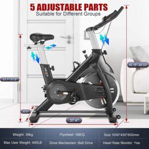 Heka Indoor Exercise Bike with 40lbs Flywheel