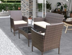 Greesum GS-4RCS8BG 4 Pieces Patio Rattan