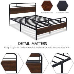 SHA CERLIN Heavy Duty Full Size Bed Frame Wood Headboard